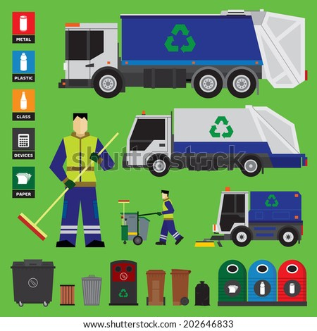 Garbage recycling set of trucks and containers - stock vector