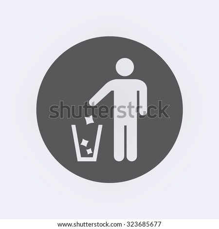 Garbage Recycling Sign in circle . Vector illustration - stock vector