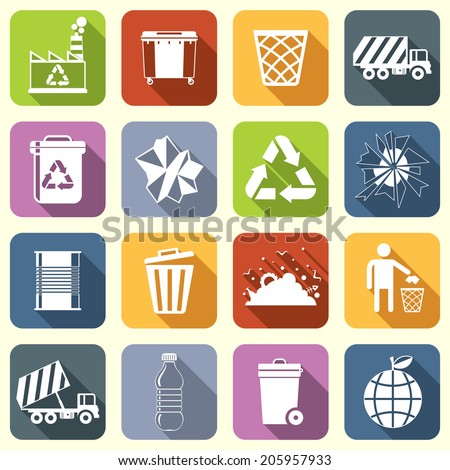 Garbage rubbish green recycling symbols flat interface icons set isolated vector illustration - stock vector
