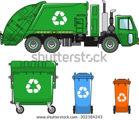 Garbage truck and three variants of dumpsters in a flat style - stock vector
