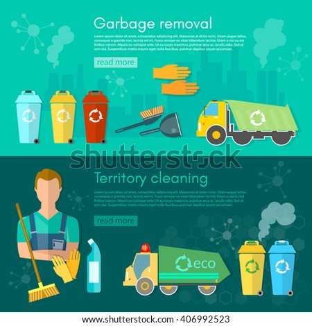 Garbage truck dumpster and workers banner sorting waste for recycling separation of waste on garbage bins vector illustration - stock vector