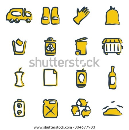 Garbageman Icons Freehand 2 Color - stock vector