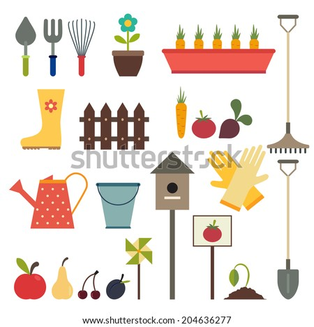Garden and gardening tools icons. Isolated on a white background - stock vector