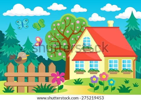 Garden and house theme background 1 - eps10 vector illustration. - stock vector