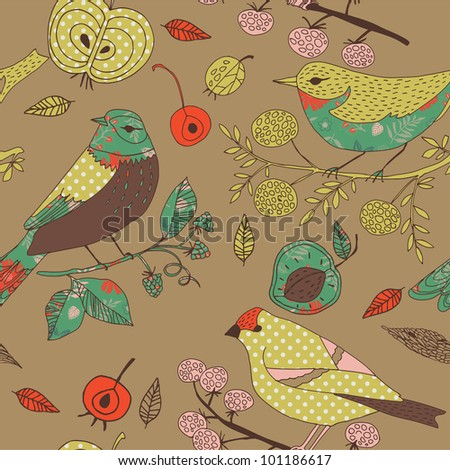 Garden Birds Deco Tile - stock vector