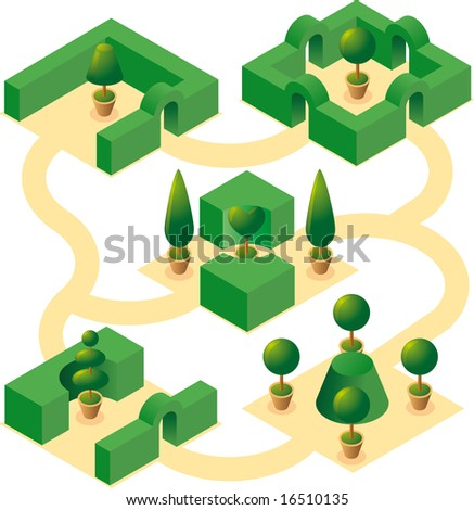Garden designs set-1. Four classical square garden designs with cultivated cypresses and bushes in isometric view - stock vector