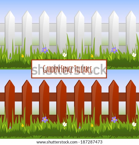 Garden fence with grass and daisy flowers tileable pattern vector illustration - stock vector