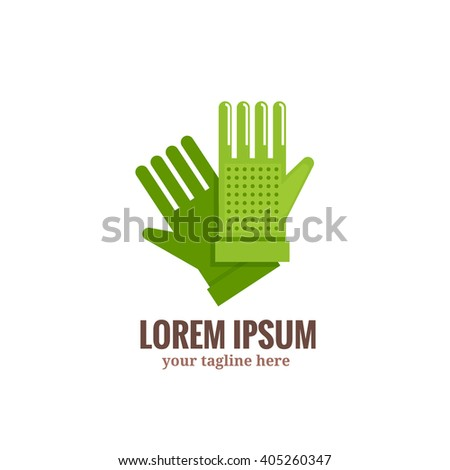 Garden gloves logo.Vector illustration green garden gloves in flat style on white background isolated. Symbol of protection  hands against influence of environment. - stock vector