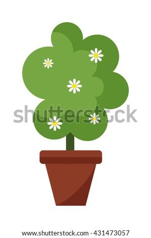 Garden green trees isolated on white background and garden tree vector illustration. Garden tree nature plant summer landscape design. Environment forest design gardening botanical foliage. - stock vector