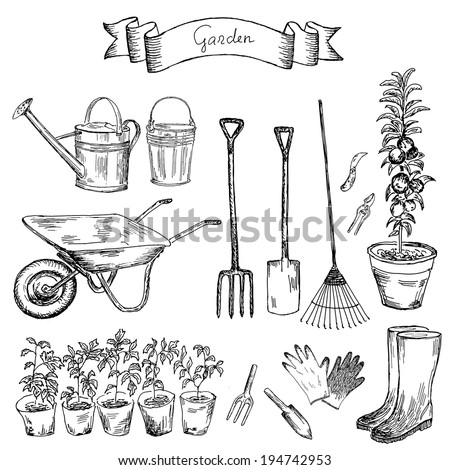 garden. hand drawing set of vector sketches - stock vector