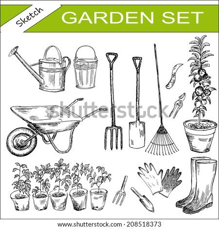 garden. hand drawing set of vector sketches - stock vector