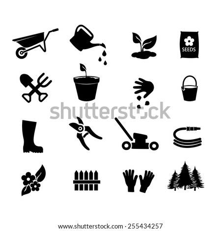 Garden icon set vector - stock vector