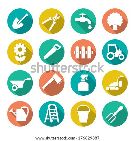 Garden icons in flat style isolated on white. Vector illustration - stock vector