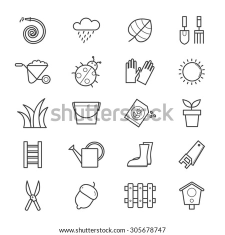 Garden Icons Line - stock vector