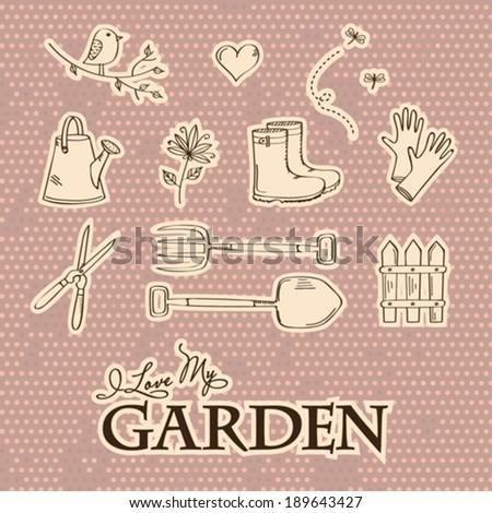 Garden set symbols in vintage style - stock vector