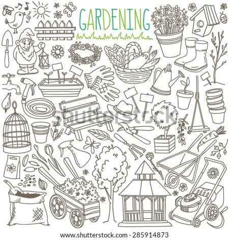 Garden themed doodle set. Various equipment and facilities for  gardening, farming, agriculture and horticulture. Freehand vector sketches isolated over white background. - stock vector