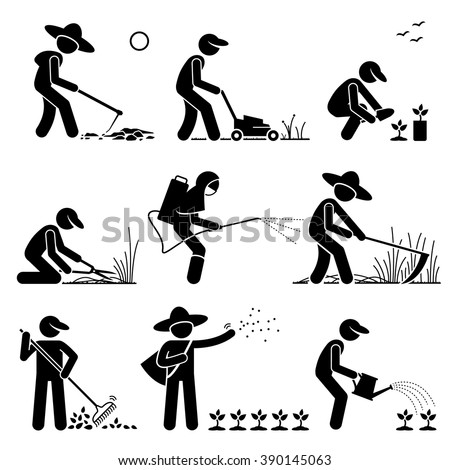 Gardener and Farmer using Gardening Tools and Equipment for Cultivating Work and Seedlings - stock vector