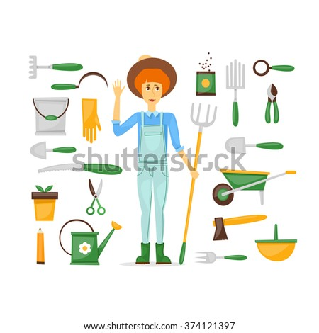 Gardener, farmer girl in full growth, and a set of tools isolated. Character design vector illustration. - stock vector