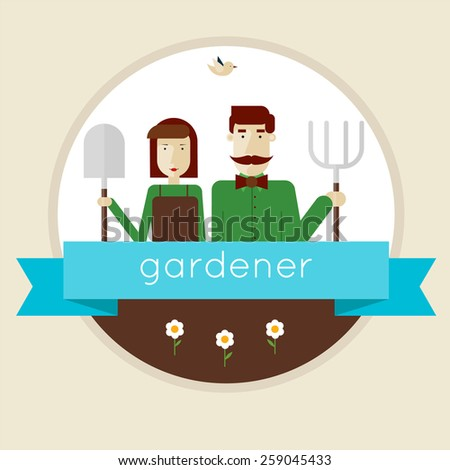 Gardener man and girl character kept garden accessories. Isolated label. Vector illustration in modern flat style. Flower shop. Florist. - stock vector