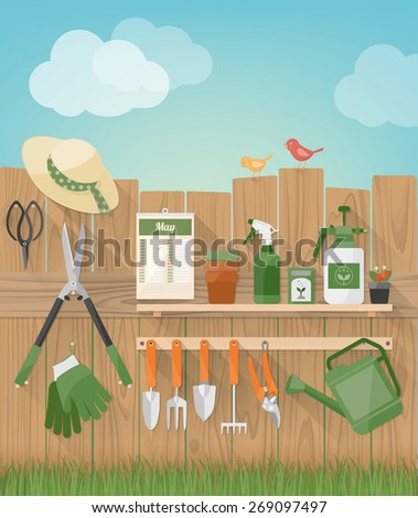 Gardening and diy hobby garden with wooden fence with tools hanging, plants and birds, grass at bottom - stock vector