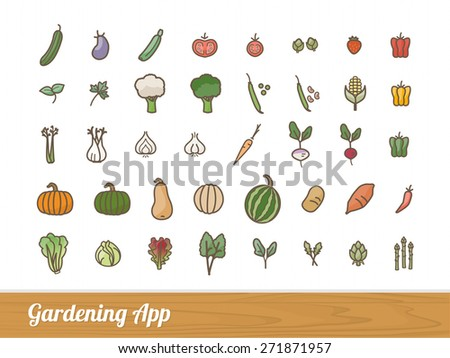 Gardening and farming app vegetables outlined icons set - stock vector