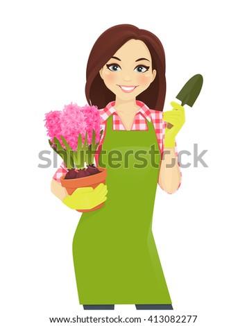 Gardening beautiful woman holding hyacinth flowers pot  - stock vector