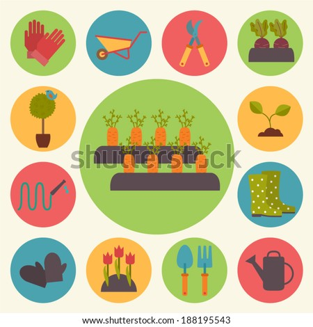 Gardening, garden icons set, flat design vector - stock vector