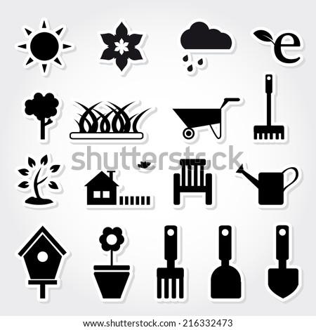 Gardening icon set. - stock vector