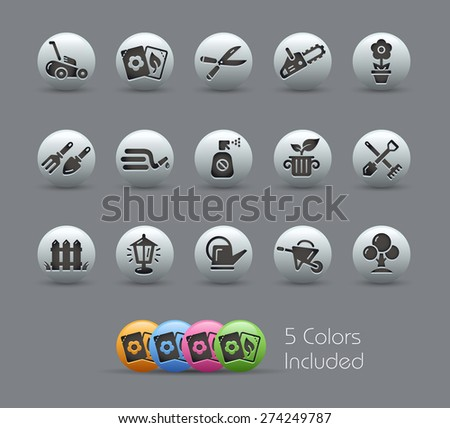 Gardening Icons. Pearly Series. It includes 5 color versions for each icon in different layers. - stock vector