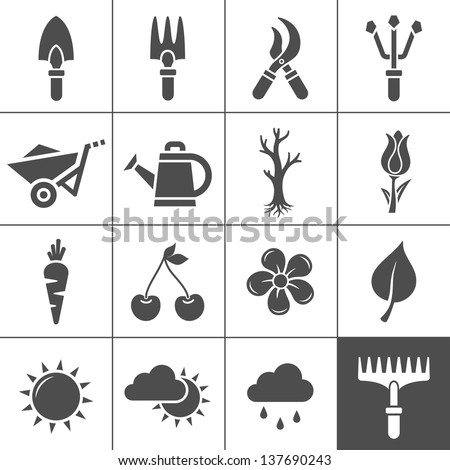 Gardening Icons Set. Vector illustration of garden tools. Simplus series - stock vector
