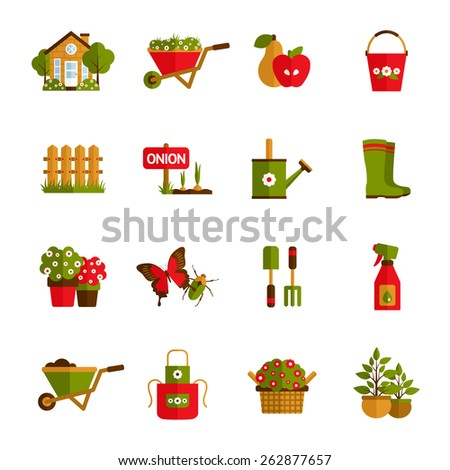 Gardening icons set with farm house wheelbarrow fruit harvest and water pot isolated vector illustration - stock vector