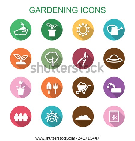 gardening long shadow icons, flat vector symbols - stock vector