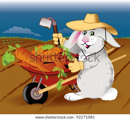 Gardening Rabbit - stock vector