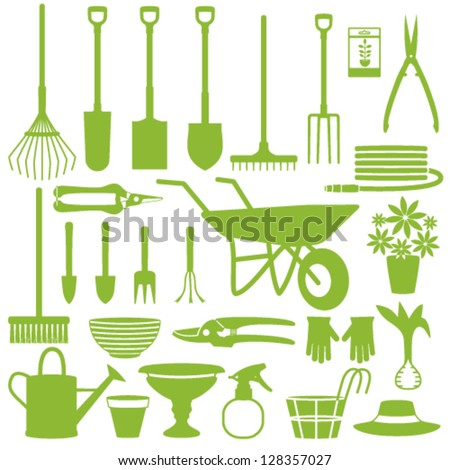Gardening related icons - stock vector