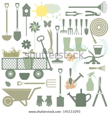 Gardening related icons 3 - stock vector
