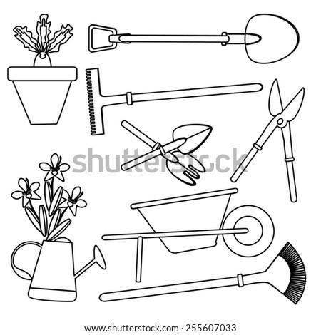 gardening set  drawing - stock vector