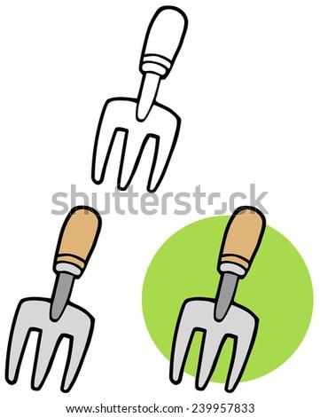 Gardening Tool--Gardeners Hand Fork. Vector Collection Set - stock vector