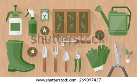 Gardening tools and equipment on a wooden table top view with seeds and sprouts growing - stock vector