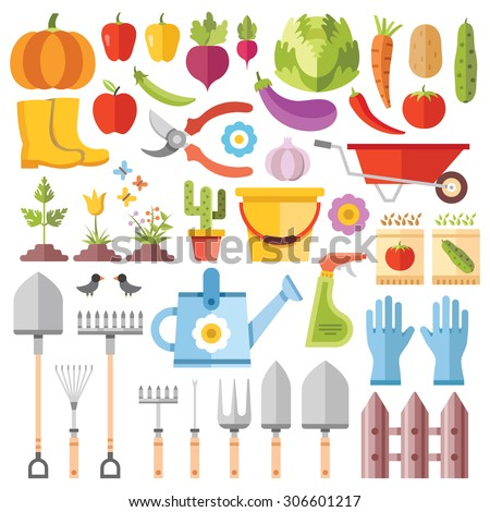 Gardening tools, horticultural activities, gardening ideas flat icons set. Simple colorful flat design concept for web banners, web sites, printed materials, infographics.Creative vector illustrations - stock vector
