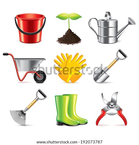 Gardening tools icons detailed photo-realistic vector set - stock vector