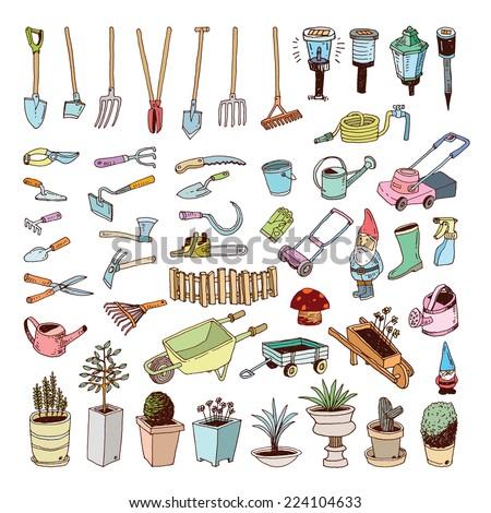 Gardening Tools, illustration vector. - stock vector