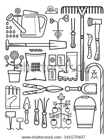 Gardening tools, outline - stock vector