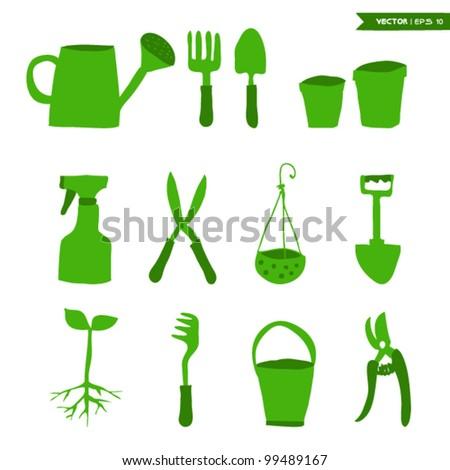 Gardening Tools set - stock vector