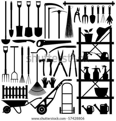 Gardening Tools Silhouette - stock vector