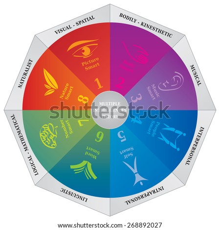 Gardner's Multiple Intelligences Theory Diagram - Wheel - Coaching NLP Psychology Tool - stock vector