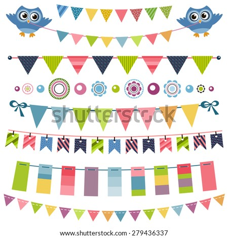 Garland and bunting set - stock vector