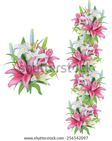Garlands of lilies flowers - stock vector