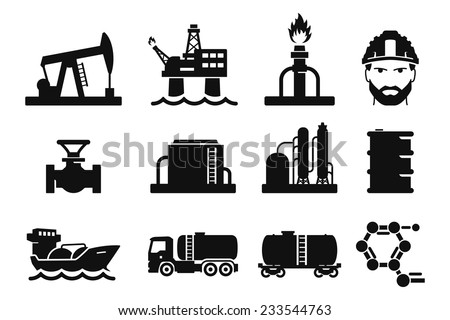 Gas and Oil icons set // 01 - stock vector