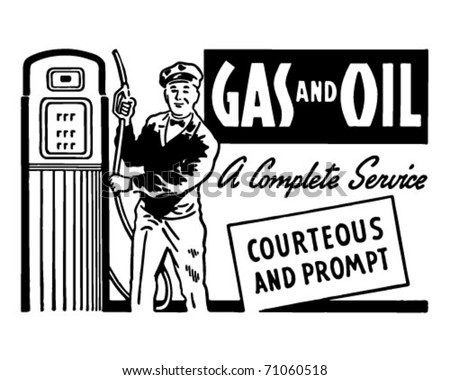 Gas And Oil - Retro Ad Art Banner - stock vector
