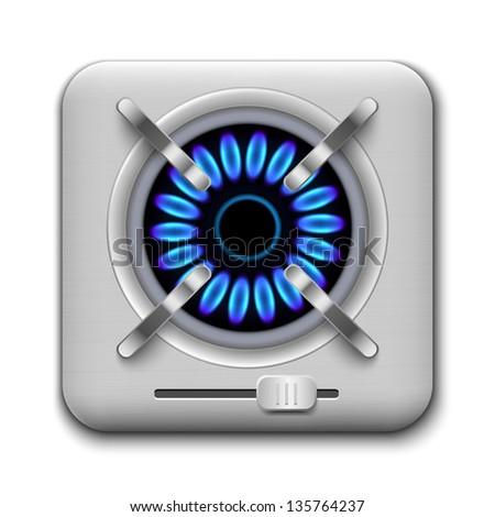 Gas burner icon. Vector illustration. - stock vector